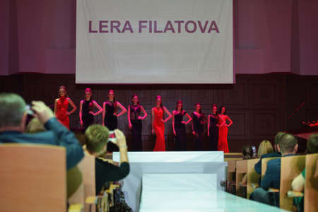 classics: Novosibirsk, Russia - November 15, 2014: Models dressed from Lera Filatova on the Grand defile of Novosibirsk Fashion Week. The event was held under the motto High Fashion & High Classics