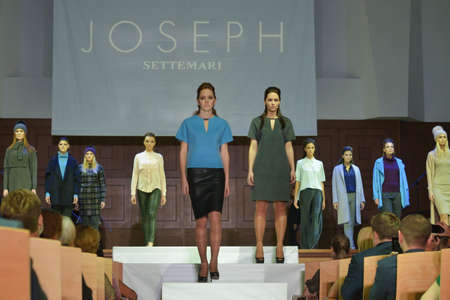 defile: Novosibirsk, Russia - November 15, 2014: Models dressed from Joseph collection on the Grand defile of Novosibirsk Fashion Week. The event was held under the motto High Fashion & High Classics Editorial