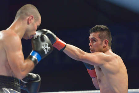 marin: Novosibirsk, Russia - November 29, 2014: Match Romero Marin (right) of Mexico vs Abdelkader Chadi of Algeria during AIBA Pro Boxing tournament. The winners will go to the Olympics-2016