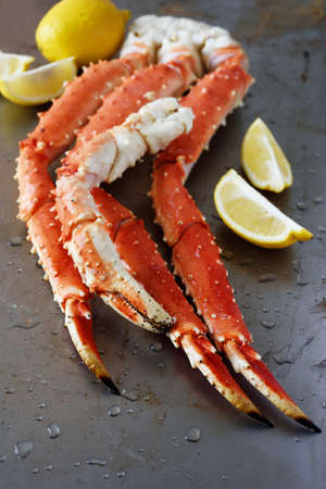 Red king crab legs with lemon photo
