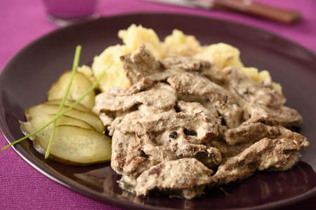 beef stroganoff: Beef Stroganoff with mashed potato and pickled cucumbers Stock Photo