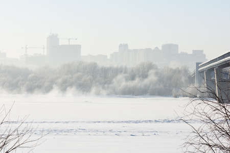 longest: Novosibirsk, Russia - December 20, 2014: Metro bridge across the Ob river and left bank part of city. It is the world longest metro bridge with the length 2145 m