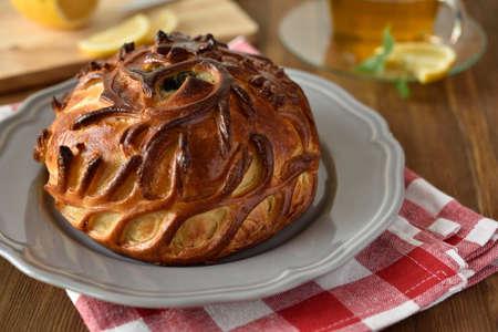 meat pie: Meat pie on a plate