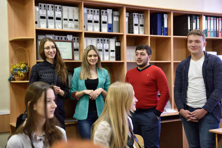 educational institution: Novosibirsk, Russia - January 15, 2015: Teachers presenting the Novosibirsk State University of Economics and Management for prospective students. It is the Western Siberia largest economical educational institution Editorial