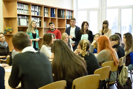 novosibirsk: Novosibirsk, Russia - January 15, 2015: Teachers presenting the Novosibirsk State University of Economics and Management for prospective students. It is the Western Siberia largest economical educational institution Editorial