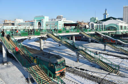 novosibirsk: Novosibirsk, Russia - January 11, 2015: Building of the main train station. The station is starting point of Turkestan-Siberian railroad and a keypoint of Trans-Siberian railroad