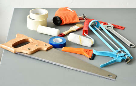 gaffer: DIY tools on a table Stock Photo