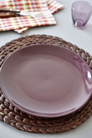 straw mat: Table setting with straw mat