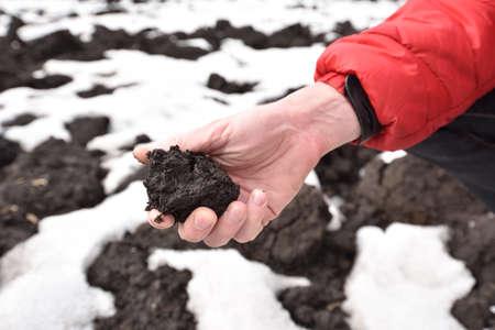 black soil: Man holding the dirt of chernozem the fertile black soil of Voronezh oblast in springtime