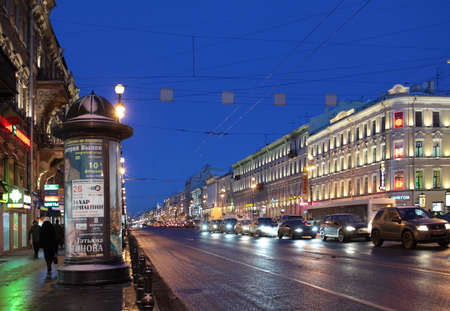 nevsky prospect: St. Petersburg, Russia - January 17, 2013: People and car traffic on the Nevsky Prospect in a winter morning. It is the main avenue of the city and one of the best-known streets in Russia