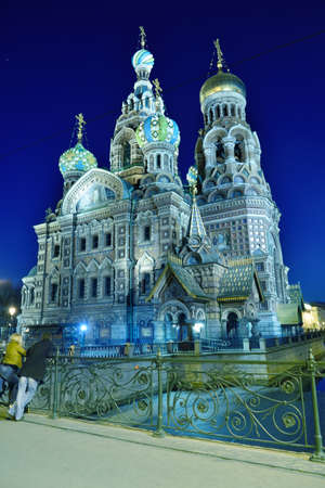 assassinated: St. Petersburg, Russia - March 16, 2015: People admire the Church of the Savior on Spilled Blood in evening.The Church was built in 1883-1907 on the site where Emperor Alexander II was assassinated