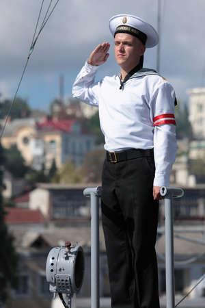 frigate: Sevastopol, Crimea, Ukraine - August 17, 2012: Watchman on the Russian frigate Pytlivy. Built in Kaliningrad in 1981, the frigate included in the Black Sea Fleet since 1982