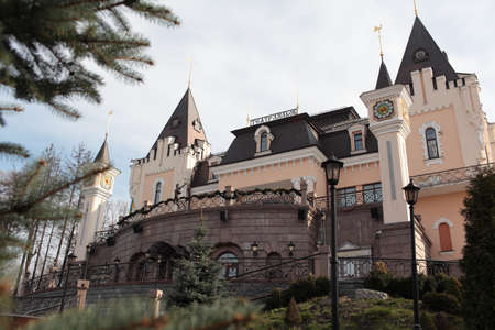 vitaly: Kiev, Ukraine - April 14, 2012: Building of puppet theater in a spring day. The building looked like a fairytale castle was built in 2005 by design of Vitaly Yudin