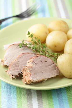 pork tenderloin: Pork tenderloin with boiled potato and thyme