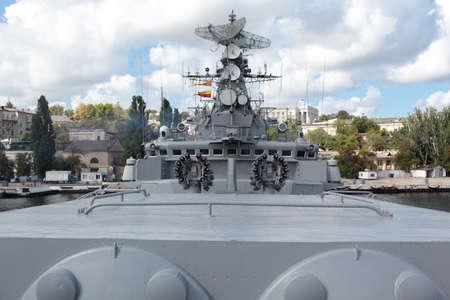 frigate: Sevastopol, Crimea, Ukraine - August 17, 2012: Anti-submarine mortars on the Russian frigate Pytlivy. Built in Kaliningrad in 1981, the frigate included in the Black Sea Fleet since 1982 Editorial