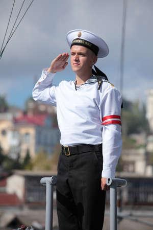 watchman: Sevastopol, Crimea, Ukraine - August 17, 2012: Watchman on the Russian frigate Pytlivy. Built in Kaliningrad in 1981, the frigate included in the Black Sea Fleet since 1982
