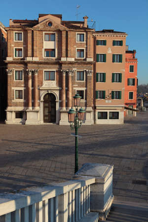 Venice, Italy - December 31, 2012: San Biagio church in a winter day. Built in 1749-54 by Francesco Bognolo, the architect of the Arsenale, it is now part of the naval museum