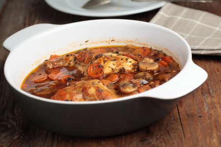 stew pan: Hunters rabbit stew with carrot in a pan Stock Photo