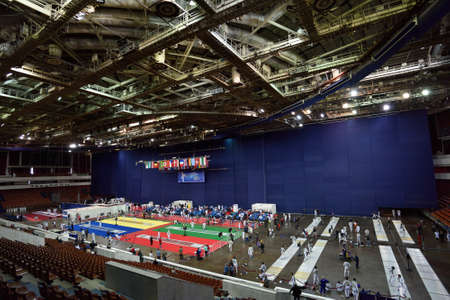 fencers: St. Petersburg, Russia - May 1, 2015: First day of competitions in 41th International fencing tournament St. Petersburg Foil. The tournament is the stage of FIE World Cup Editorial