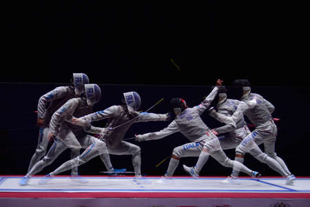 St. Petersburg, Russia - May 3, 2015: Match for 3rd place Italy vs France during 41th International fencing tournament St. Petersburg Foil. The tournament is the stage of FIE World Cup 에디토리얼