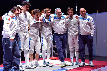 fencing foil: St. Petersburg, Russia - May 3, 2015: Bronze medalists of International fencing tournament St. Petersburg Foil team Italy after the match for 3rd place. The tournament is the stage of FIE World Cup