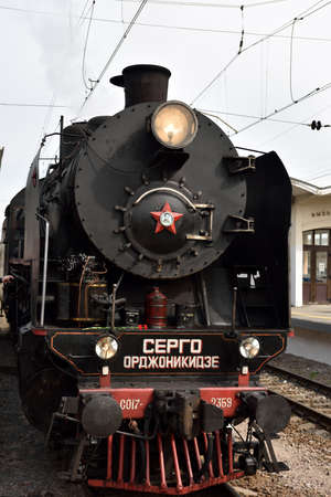 postwar: St. Petersburg, Russia - May 7, 2015: Parade of steam locomotives dedicated to the WWII Victory Day. The event recreates the atmosphere of the postwar years for veterans and spectators