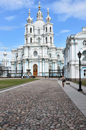 bartolomeo rastrelli: St. Petersburg Russia  April 27 2015: People on the Rastrelli square in front of the Smolny Convent. The convents main church Smolny Cathedral was built by the Italian architect Francesco Bartolomeo Rastrelli in 17481763