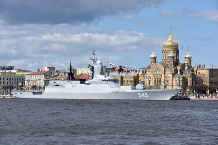 corvette: St. Petersburg Russia  May 9 2015: Corvette Stoykiy during the naval parade dedicated to the Victory Day. This is the first time the naval parade included in the Victory Day celebrations in St. Petersburg Editorial