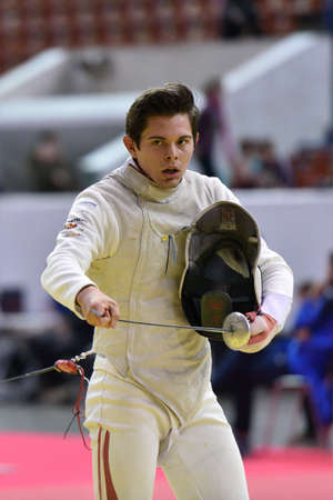 johannes: St. Petersburg Russia  May 2 2015: Johannes Poscharnig of Austria in 132 final of 41th International fencing tournament St. Petersburg Foil. The tournament is the stage of FIE World Cup