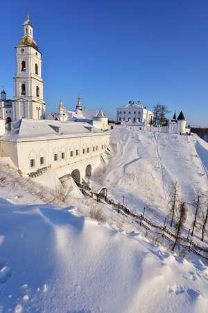 belfry: Tobolsk Kremlin with cathedral belfry in a winter day