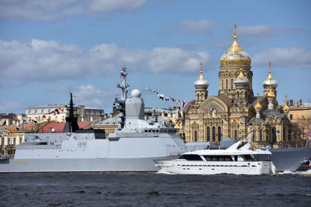 flagship: St. Petersburg Russia  May 9 2015: Flagship boat Burevestnik and the corvette Stoykiy after the naval parade dedicated to the Victory Day. This is the first time the naval parade included in the Victory Day celebrations in St. Petersburg Editorial