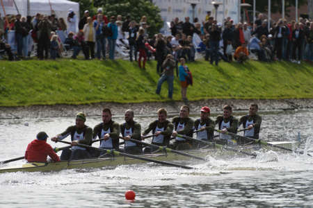 eights: St. Petersburg, Russia - June 12, 2015: Sweep rowing competition on eights boats during the Golden Blades Regatta. It is is one of the best known regatta in Russia Editorial