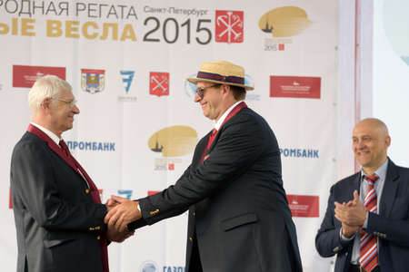 award ceremony: St. Petersburg Russia  June 12 2015: Ex World and Olympic champion Vyacheslav Ivanov left during the award ceremony of the Golden Blades Regatta. It is is one of the best known regatta in Russia