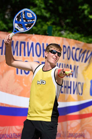 nikolay: Moscow Russia  May 30 2015: Nikolay Guriev in the match of Russian beach tennis championship. 120 adults and 28 young athletes compete in the tournament