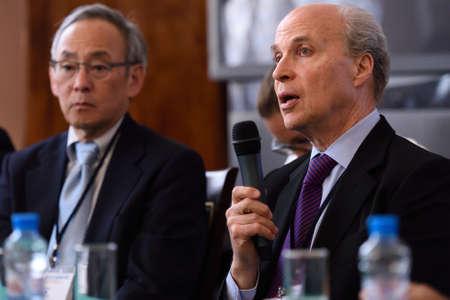 laureates: St. Petersburg Russia  June 22 2015: Nobel Prize Laureates Roger Kornberg right and Steven Chu during Saint Petersburg scientific forum