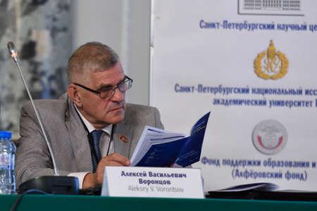 vorontsov: St. Petersburg Russia  June 22 2015: Deputy of Legislative Assembly of St. Petersburg professor Alexey Vorontsov during the Saint Petersburg scientific forum Editorial