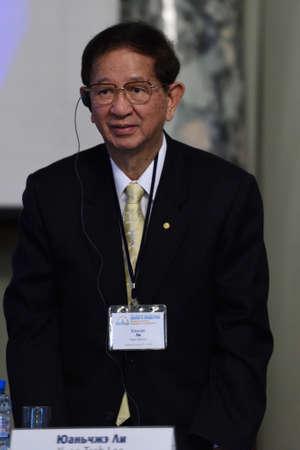 laureate: St. Petersburg Russia  June 22 2015: Nobel Prize Laureate in chemistry Yuan Tseh Lee during Saint Petersburg scientific forum