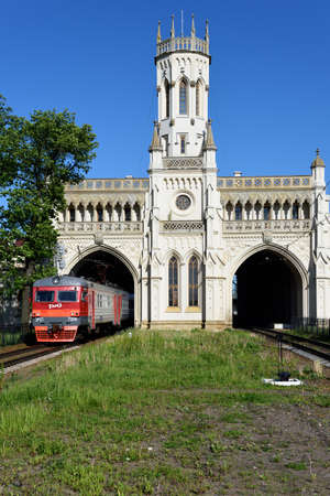 commuter train: St. Petersburg Russia  June 07 2015: Commuter train departs from the train station Novy Peterhof. The station was built in 18541857 by design of N Benois Editorial
