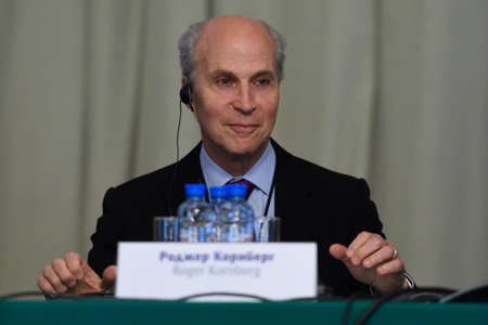laureate: St. Petersburg Russia  June 22 2015: Nobel Prize Laureate in chemistry Roger Kornberg during Saint Petersburg scientific forum Editorial
