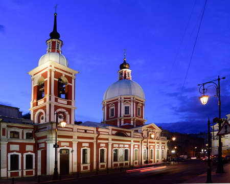pestel: St. Petersburg Russia  June 08 2015: Night view of the Church of the Holy greatmartyr and healer Panteleimon. Built in 17351739 in Baroque style the church was several times enlarged and reconstructed