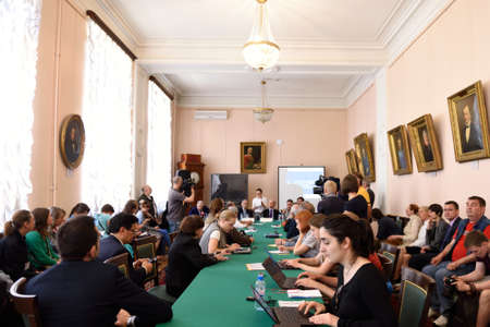 laureates: St. Petersburg Russia  June 22 2015: Pressconference during the Saint Petersburg scientific forum