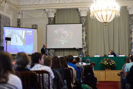 nobel: St. Petersburg Russia  June 22 2015: Plenary thesis of Nobel Prize Laureate in chemistry Roger Kornberg during Saint Petersburg scientific forum