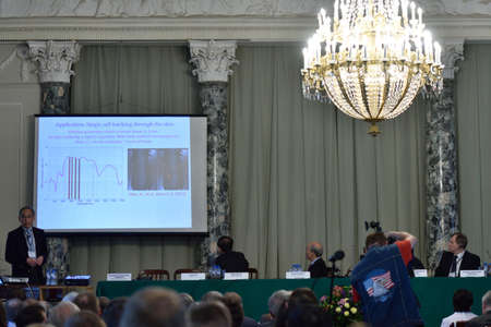 nobel: St. Petersburg Russia  June 22 2015: Plenary thesis of Nobel Prize Laureate in physics Steven Chu during Saint Petersburg scientific forum