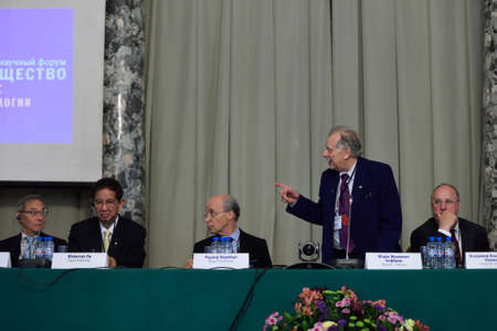 laureates: St. Petersburg Russia  June 22 2015: Zhores Alferov and other scientists on the  Saint Petersburg scientific forum