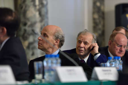 nobel: St. Petersburg Russia  June 22 2015: Nobel Prize Laureates Roger Kornberg left and Zhores Alferov during Saint Petersburg scientific forum