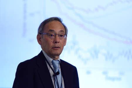 laureates: St. Petersburg, Russia - June 22, 2015: Plenary thesis of Nobel Prize Laureate in physics Steven Chu during Saint Petersburg scientific forum Nanostructures: physics and technology. Seven Nobel Prize Laureates meet on the forum this year