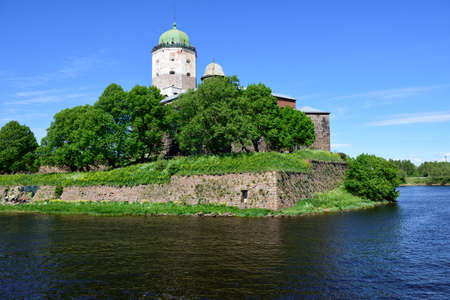 vyborg: Vyborg, Leningrad oblast, Russia - June 06, 2015: People on the tower of St. Olav of Vyborg Castle. The castle was founded in 1293 Editorial