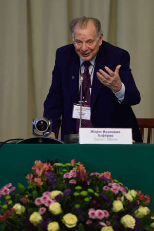 nobel: St. Petersburg, Russia - June 22, 2015: Nobel Prize Laureate in physics Zhores Alferov during Saint Petersburg scientific forum Nanostructures: physics and technology. Seven Nobel Prize Laureates meet on the forum this year