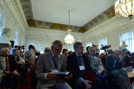 laureate: St. Petersburg, Russia - June 22, 2015: First day of Saint Petersburg scientific forum Nanostructures: physics and technology. Seven Nobel Prize Laureates meet on the forum this year