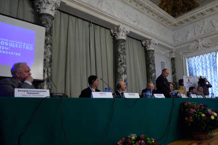 laureates: St. Petersburg, Russia - June 22, 2015: Plenary thesis during the Saint Petersburg scientific forum Nanostructures: physics and technology. Seven Nobel Prize Laureates meet on the forum this year